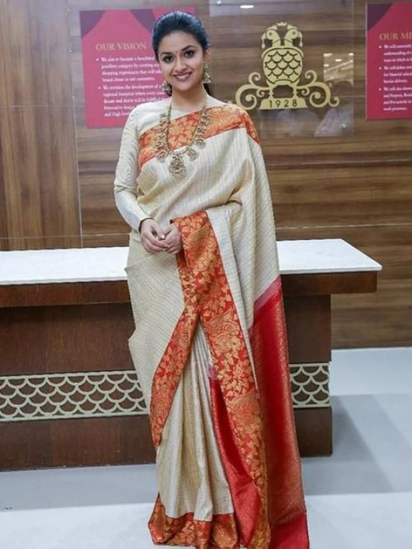 Glorious Off White And Red Color Designer Silk Saree VMRDL9008