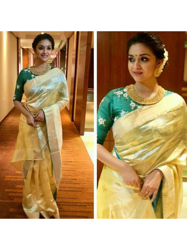 Exclusive Light Yellow Color Designer Silk Saree DL9014