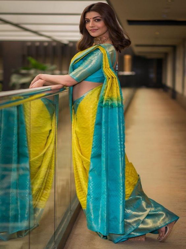Peasurable Yellow And Light Blue Color Designer Silk Saree DSY-5015
