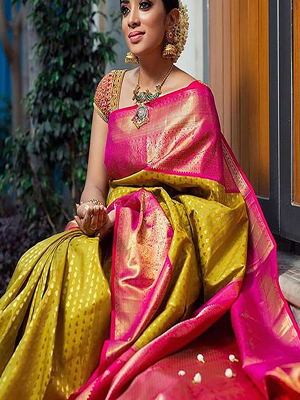 Fashionable Yellow And Pink Color Designer Silk Saree VMRDSY-5032
