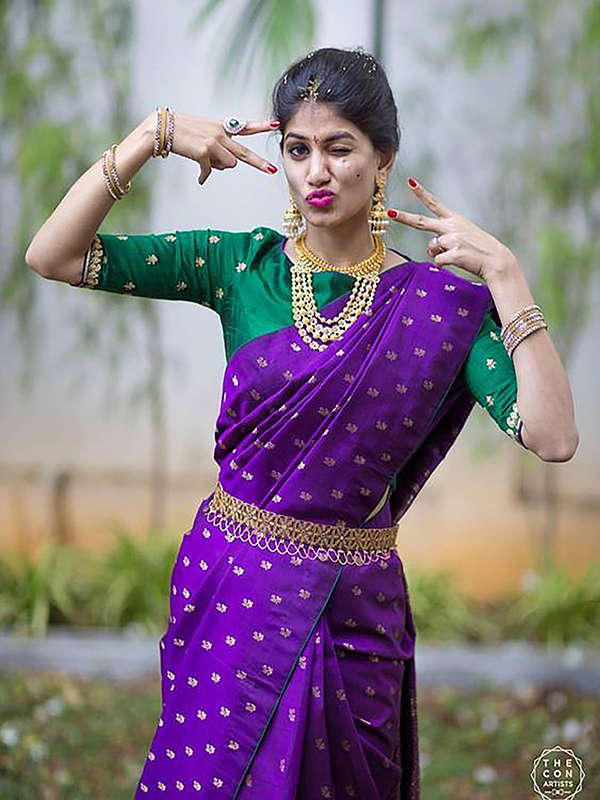Engrossing Purple Color Designer Silk Saree DSY-5034