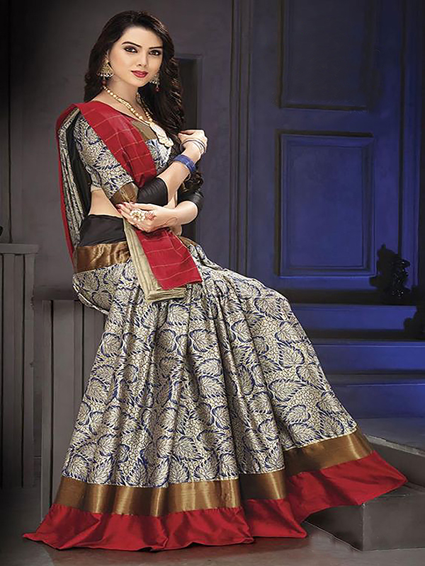 Exclusive Grey And Maroon Color Designer Silk Saree VMRDSY-5041