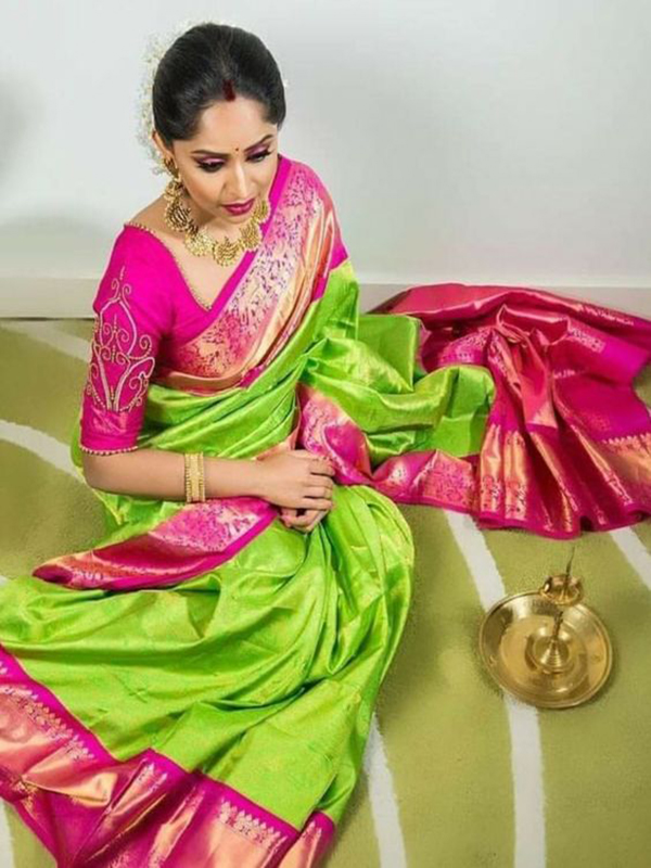 ARTISTIC GREEN AND PINK COLOR DESIGNER SILK SAREE VMRDSY-5044