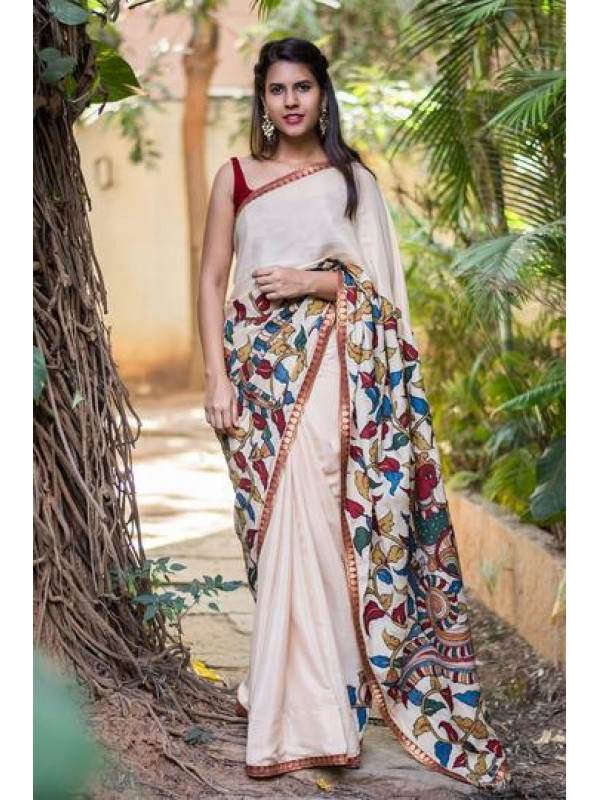 Eventual Belge Color Linen Designer Digital Print Saree VMRLN8003