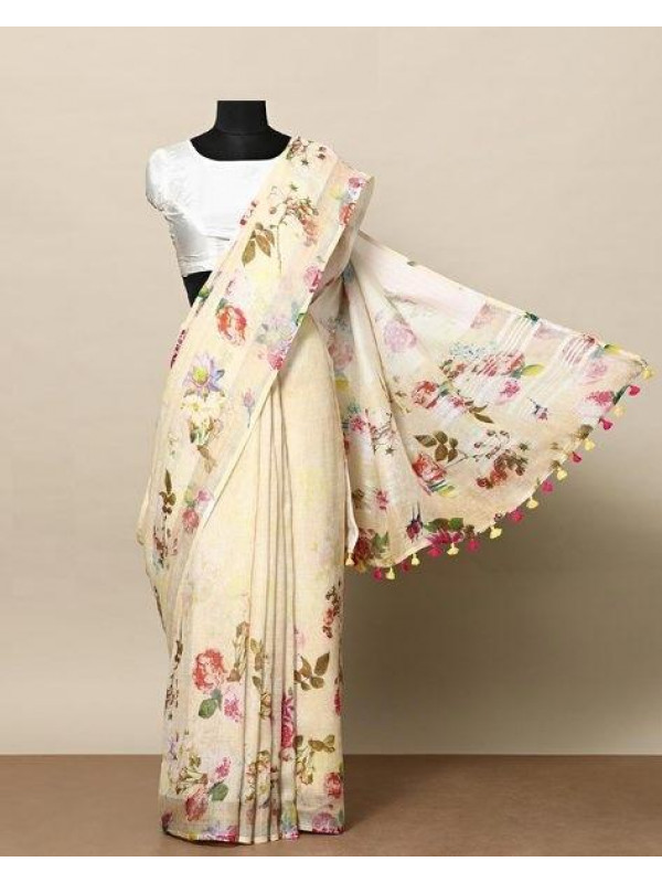 Artistic Cream Color Linen Designer Digital Print Saree VMRLN8039