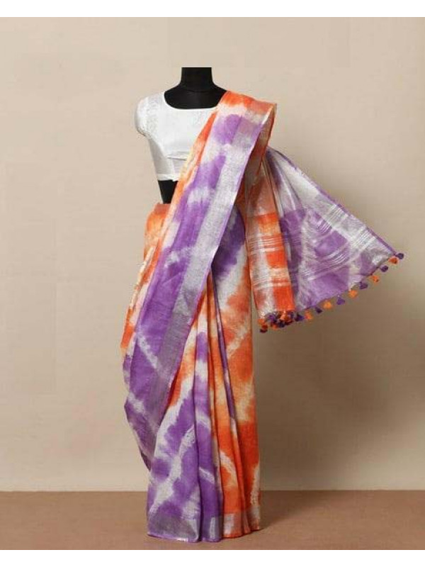 Appealing Purple And Orange color Linen designer Digital Print Saree VMRLN8056