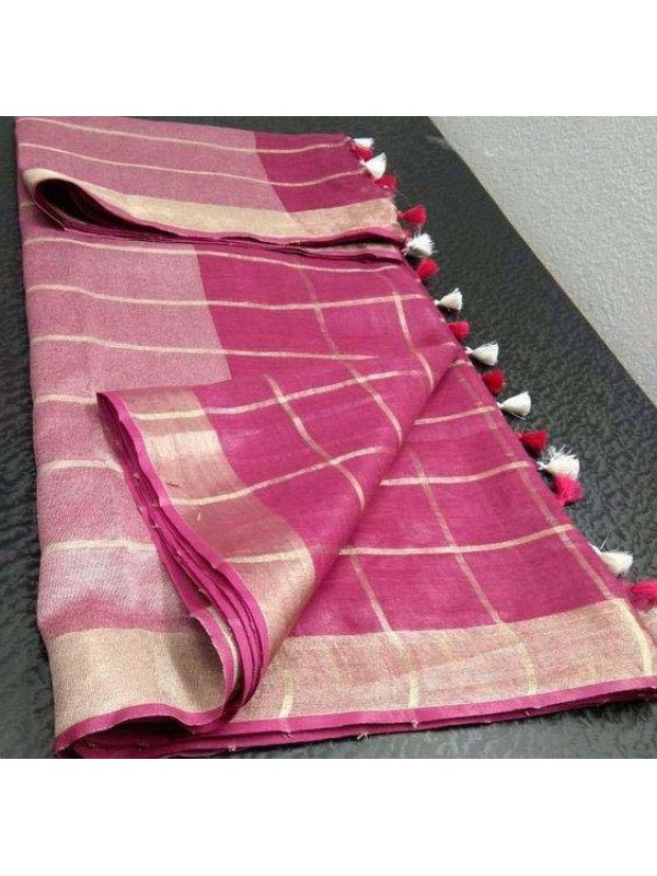 Attractive Pink Color Linen Designer Digital Print Saree  VMRLN8073