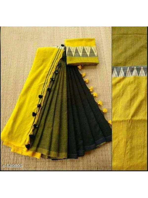 Appealing Yellow And Black Color Linen Designer Digital Print Saree VMRLN8088