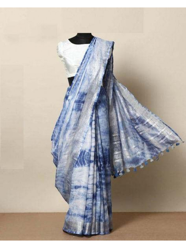 Blissful White And Blue Color Linen Designer Digital Print Saree VMRLN8149