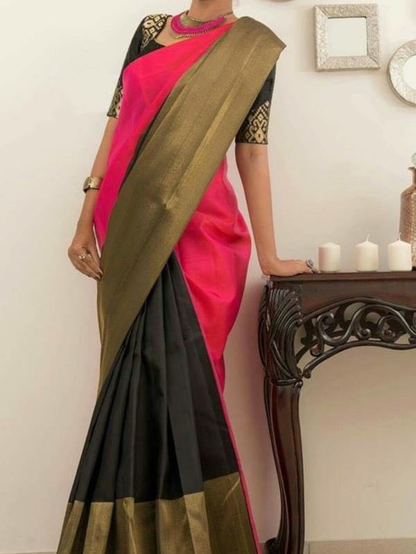 Fabulous Red And Black Color Soft Silk Saree FN01