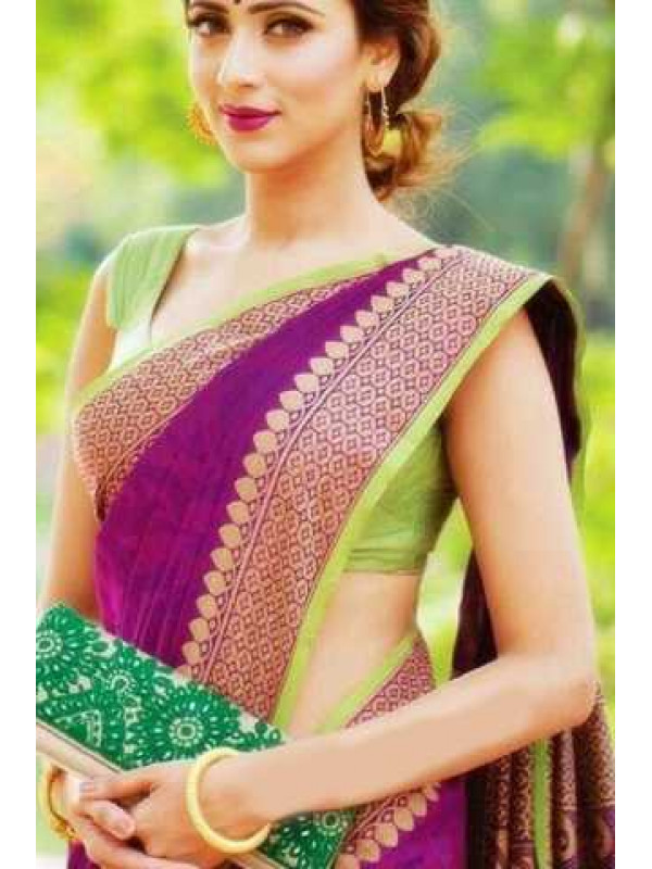 Fanstastic Purple And Green Color Soft Silk Designer Saree FN107