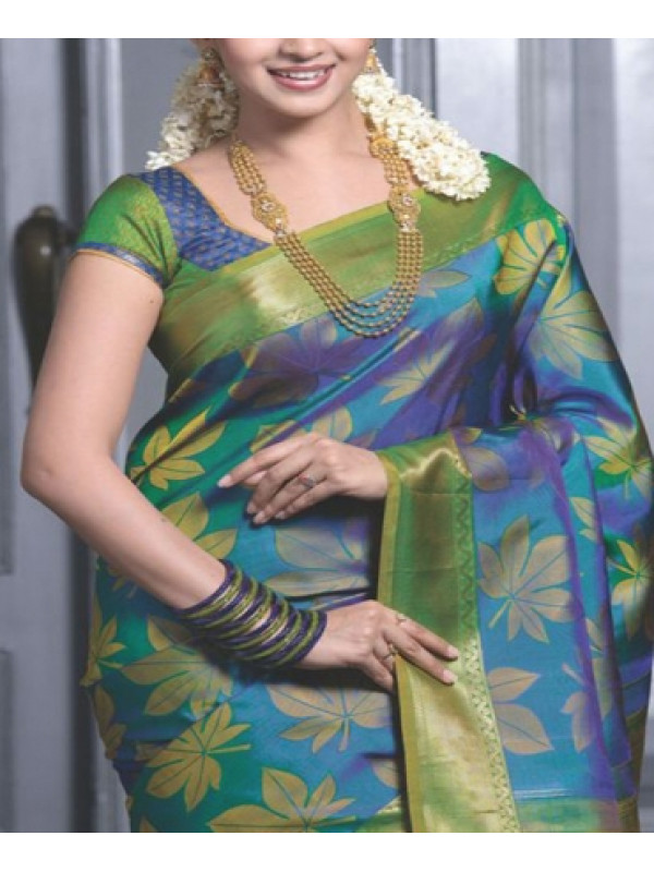 Prominent Parrot Green And Sky Blue Color Soft Silk Saree VMRFN178