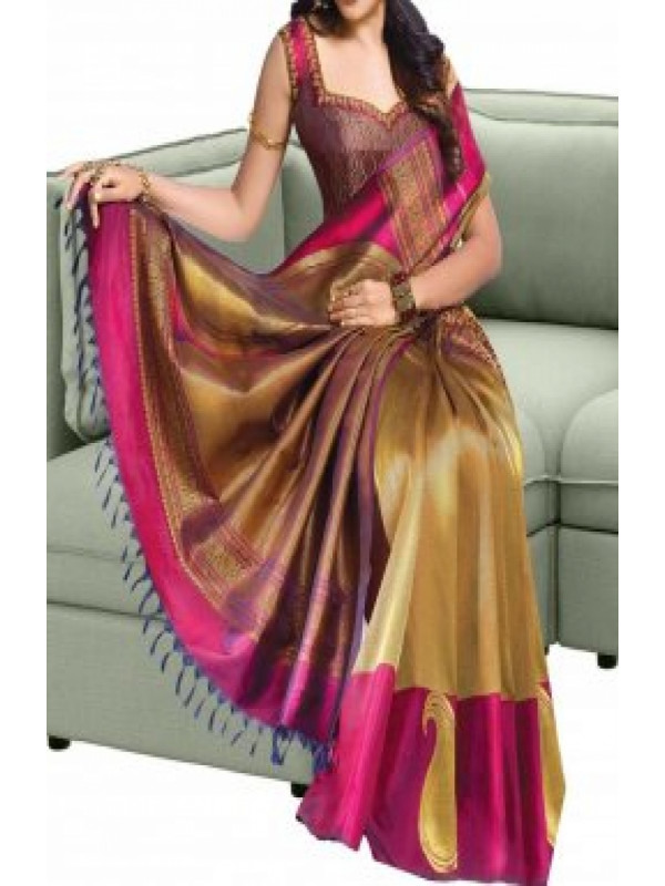 Fresh Beige And Pink Color Soft Silk Saree FN588