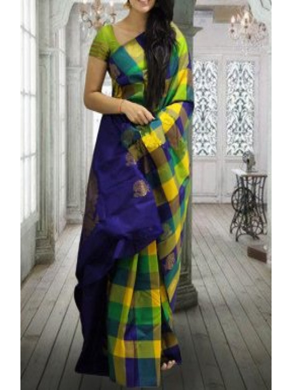 Vivid Purple Yellow And Green Color Soft Silk Saree VMRFN620