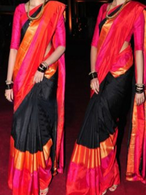 Audacious Black and Red Color Soft Silk Designer Sarees VMRFN624