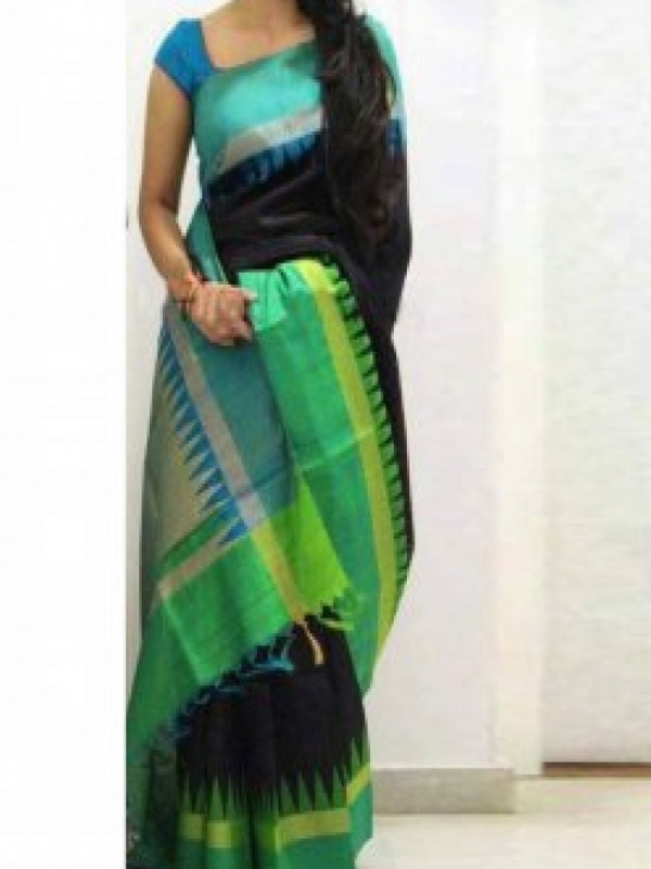 Gleaming Dark Purple And Light Green Color Soft Silk Saree FN637