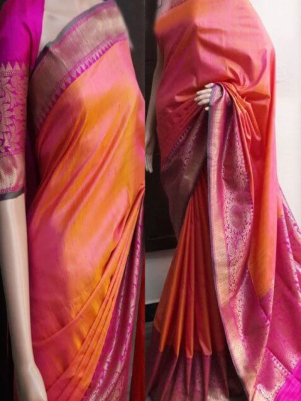 Attracting Orange N Pink Color Soft Silk Saree VMRFN753