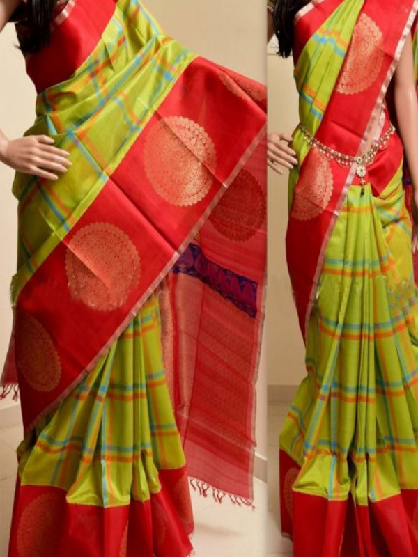 Eye Catching Red And Parrot Color Soft Silk Saree FN769