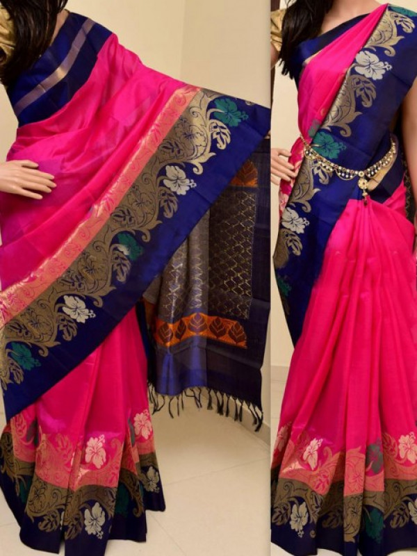 PINK AND BLUE COLOR EYE CATCHING BEAUTYFUL SOFT SILK SAREE FN780