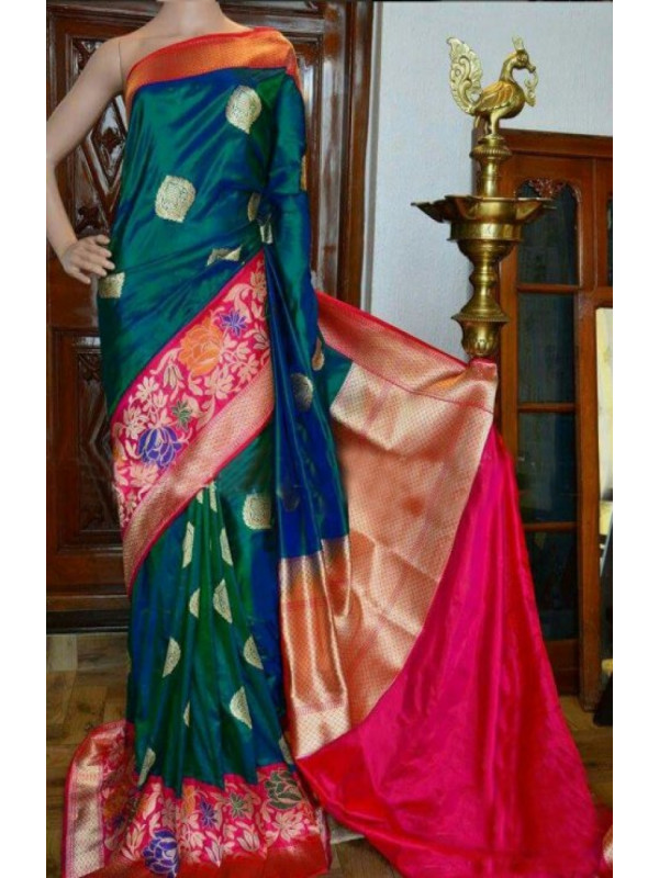 Awesome Green And Pink Color Soft Silk Designer Sarees -VMRFN941