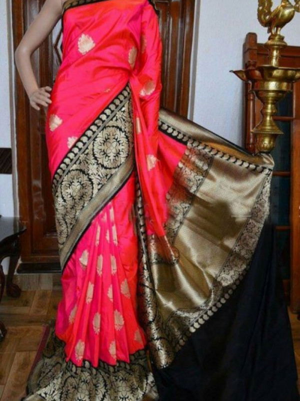 Gleaming Dark Pink Color Soft Silk Saree VMRFN947