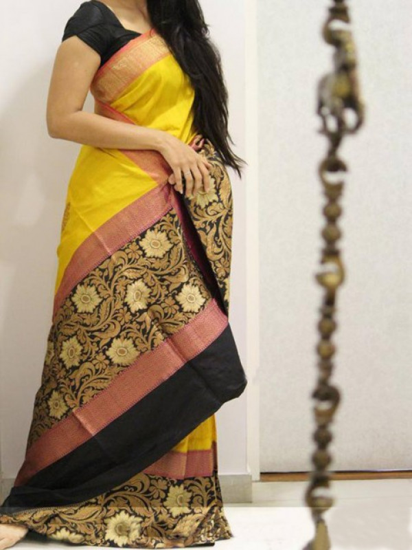 Dynamic Yellow And Black Color Soft Silk Saree VMRFN957