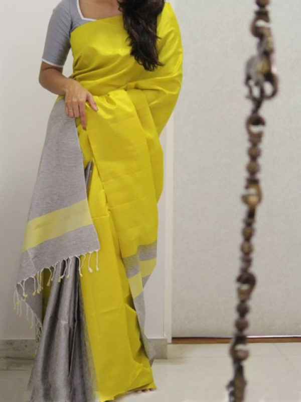 Fantastic Yellow And Grey Color Soft Silk Saree FN960