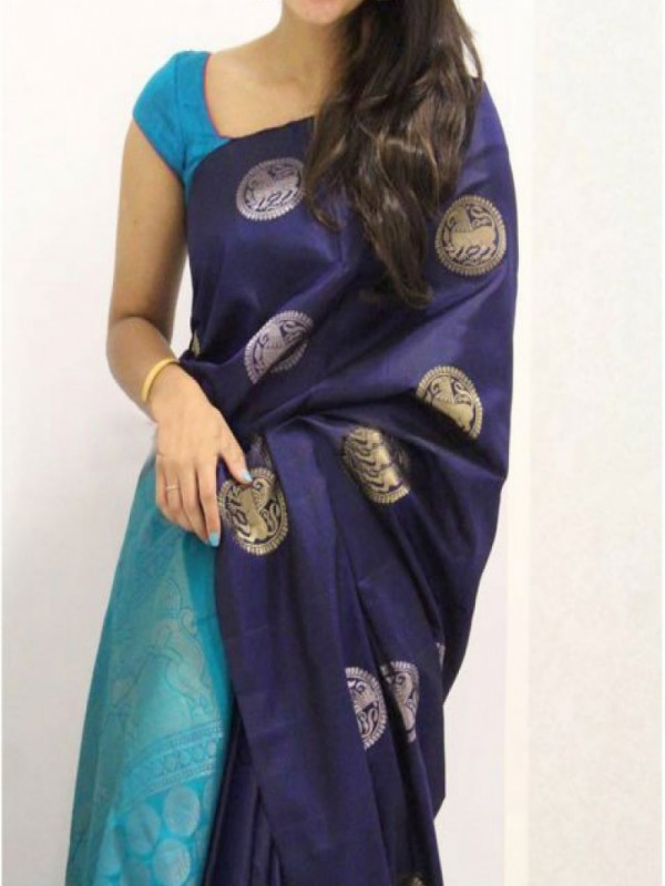Glitzy Dark Blue Color Soft Silk Saree FN984