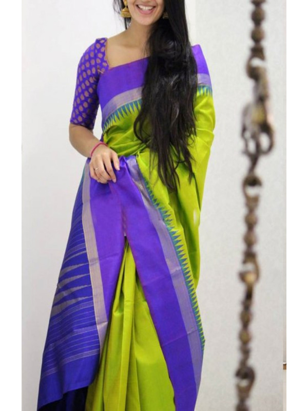 Lncomparable Green And Purple Color Soft Silk Designer Sarees VMRFN1050