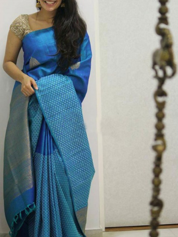 Buoyant Blue Color Soft Silk Designer Saree VMRFN1304