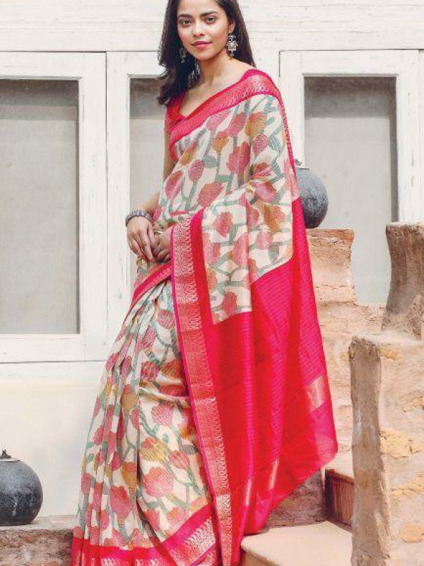 Gleaming Pink And White Color Soft Silk Saree SC-1222