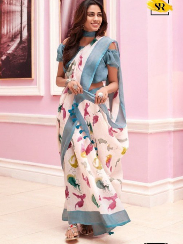 Eye Catching White And Blue Color Soft Silk Saree SC-1237