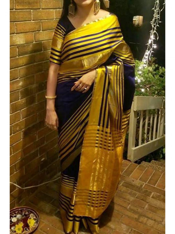 Fashionable Black And Yellow Color Soft Silk Saree SC-1252