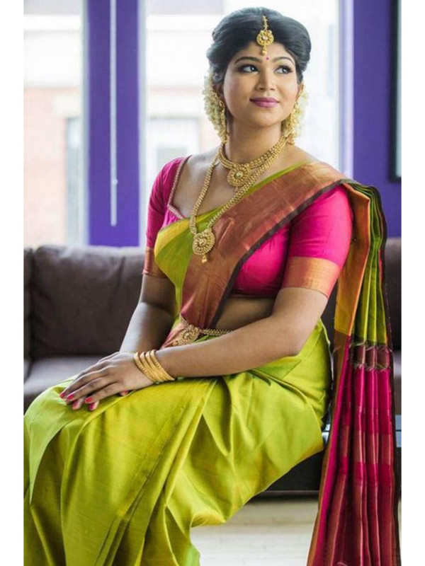 Glowing Light Green And Pink Color Soft Silk Saree SC-1253