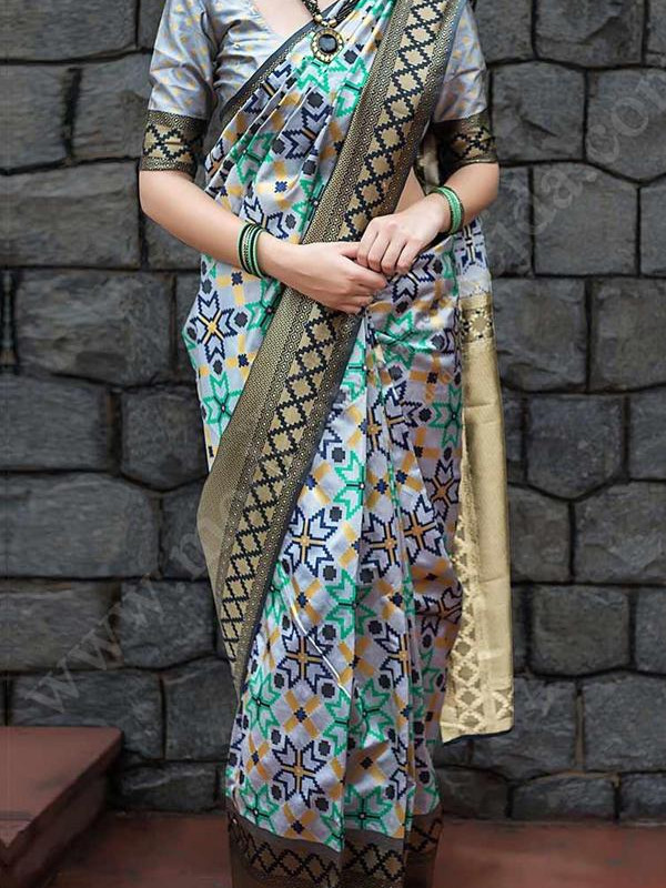 Gleaming Grey And Multi Color Soft Silk Saree VMRSC-1255
