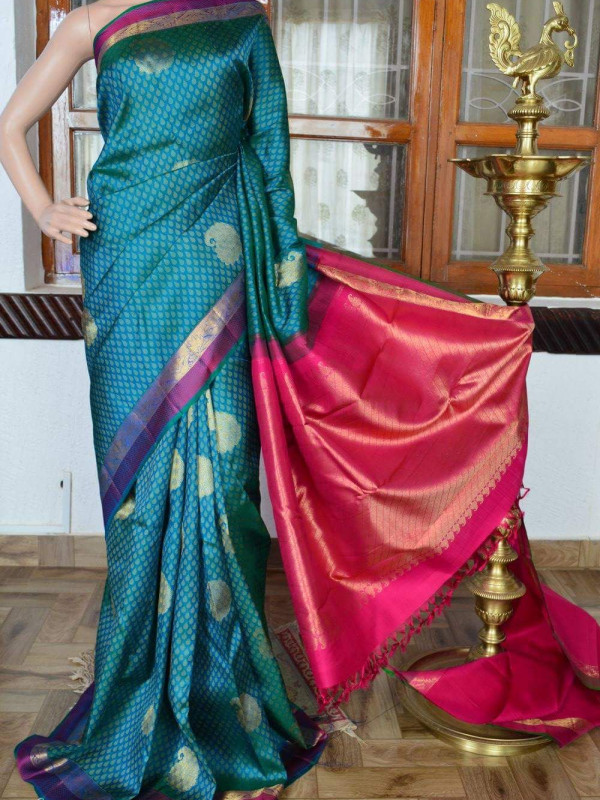 Flawless Blue And Pink Color Soft Silk Saree SC-3037