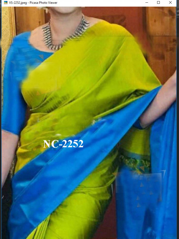 Glammrous Royal Blue And Green Color Soft Silk Saree SC-3084