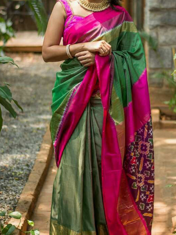 Fascinating Green And Pink Color Soft Silk Saree VMRSC-3087