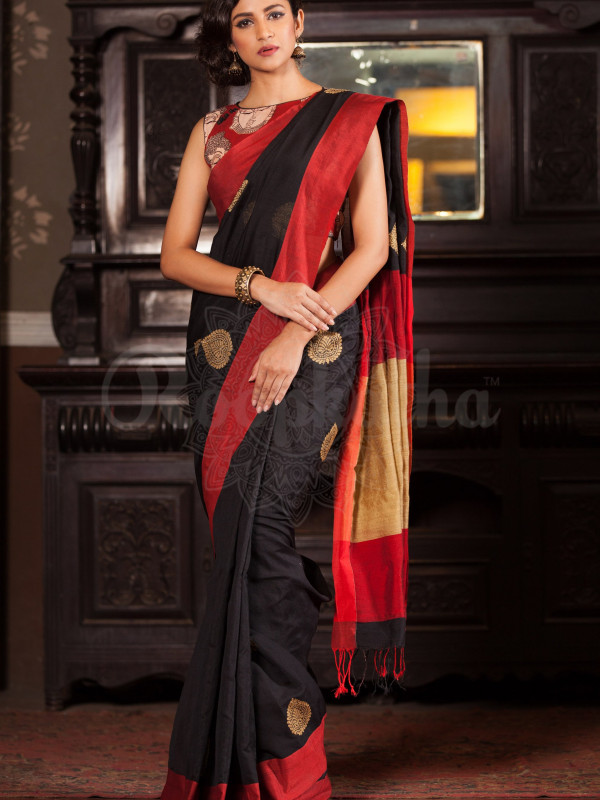 Estimable Black And Red Color Soft Silk Saree SC-3098