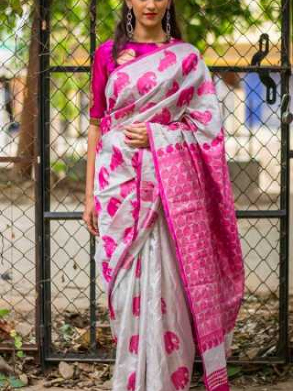 Fabulous White And Pink Color Soft Silk Saree SC3008