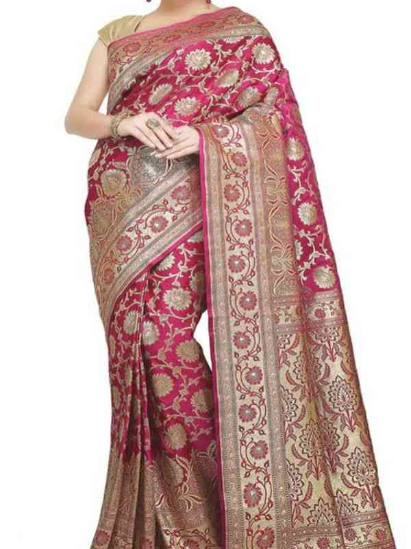 Fashionable Pink And Golden Color Soft Silk Saree SC3016