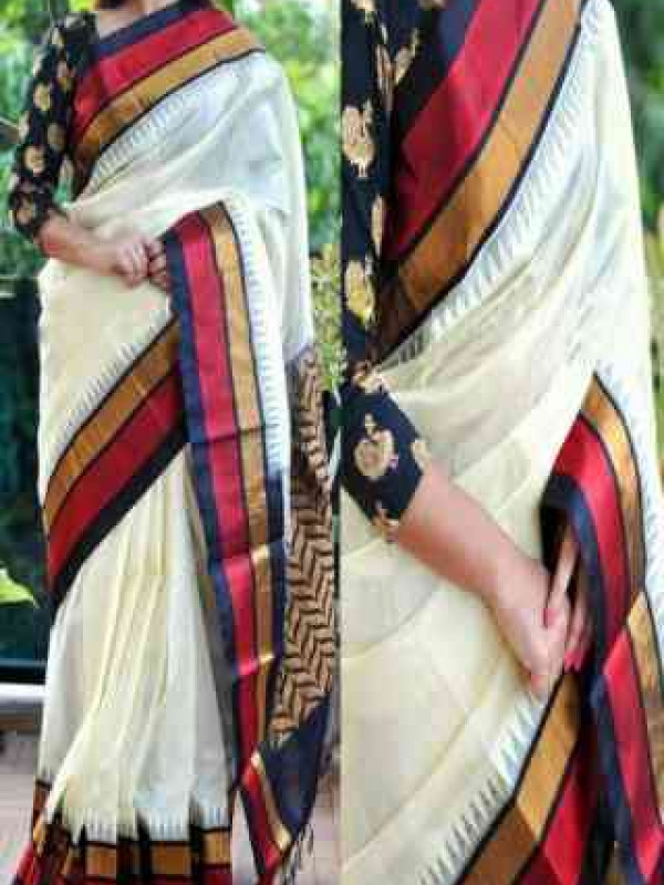 Eventual White And Red Color Soft Silk Saree VMRSC-3101