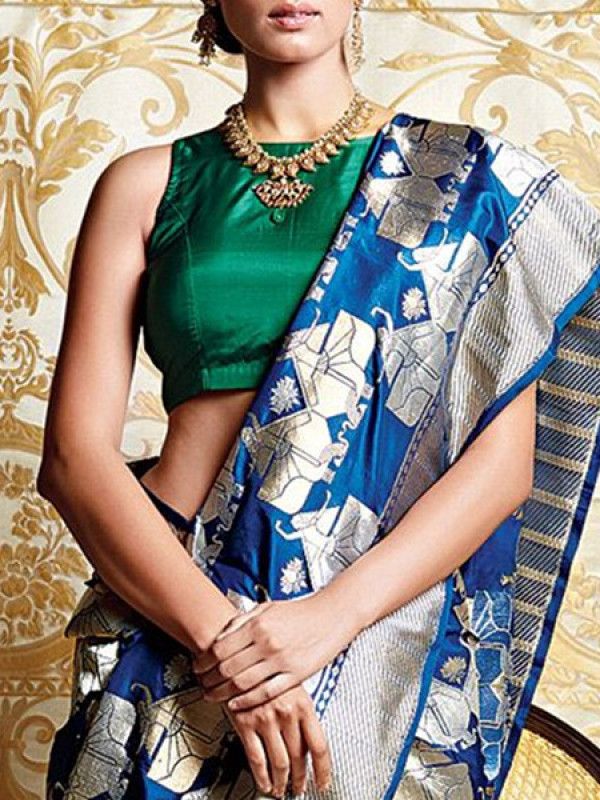 Gleaming Blue N White Color Soft Silk Saree SC-3129