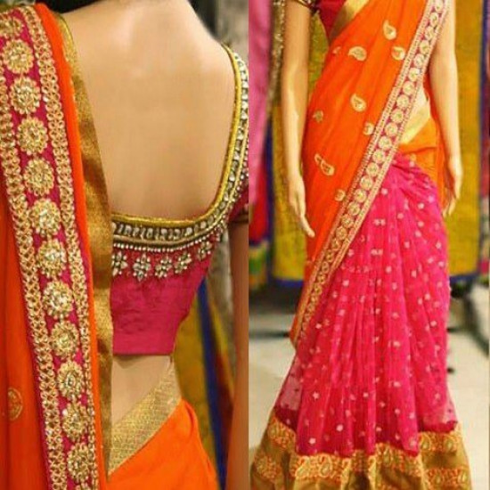 Traditional Orange N Pink Color Soft Silk Saree SC-3148