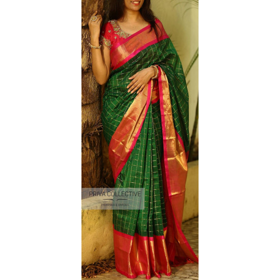 Pleasant Green N Red Color Soft Silk Saree SC-3171