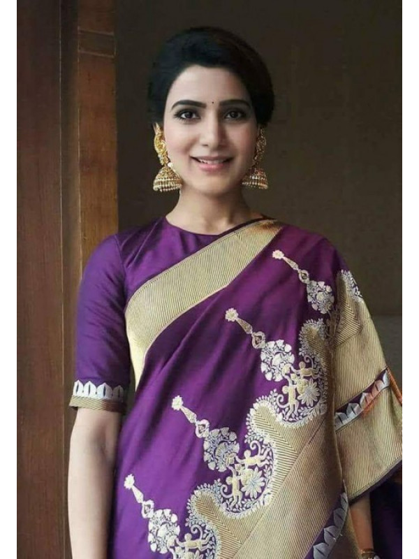 Alluring Purple Color Soft Silk Saree VMRSC-3176