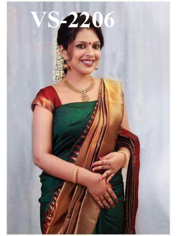 Vivacious Green And Maroon Color Designer Soft Silk Saree VMRSC-3205