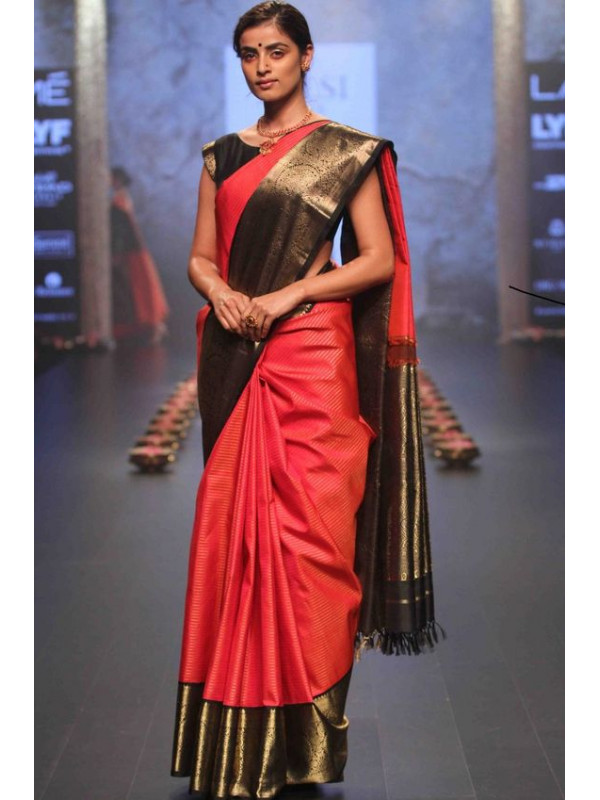 Heavenly Black And Red Color Soft Silk Saree VMRSC4002