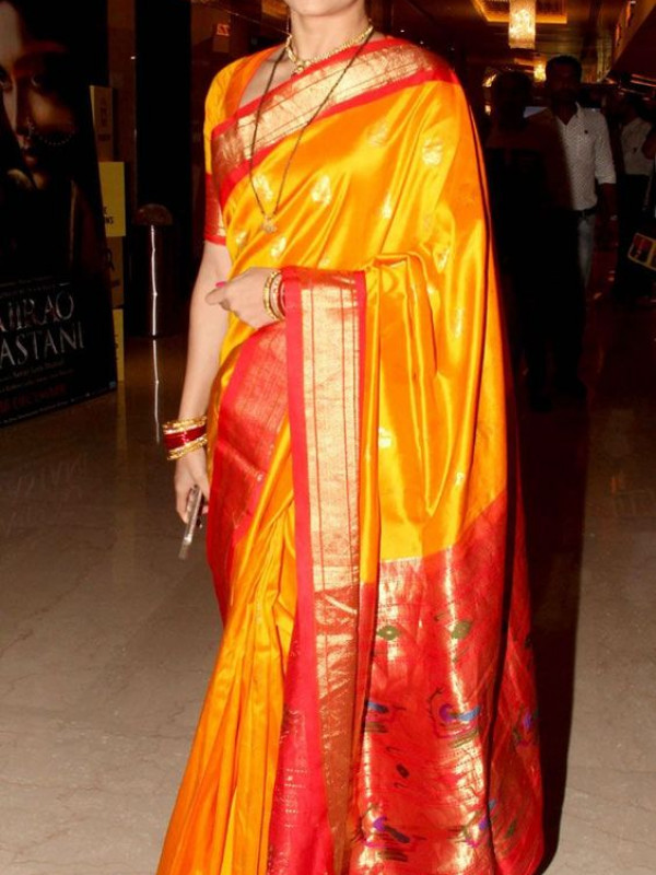 Fanciful Red And Yellow Color Designer Soft Silk Saree SC4007