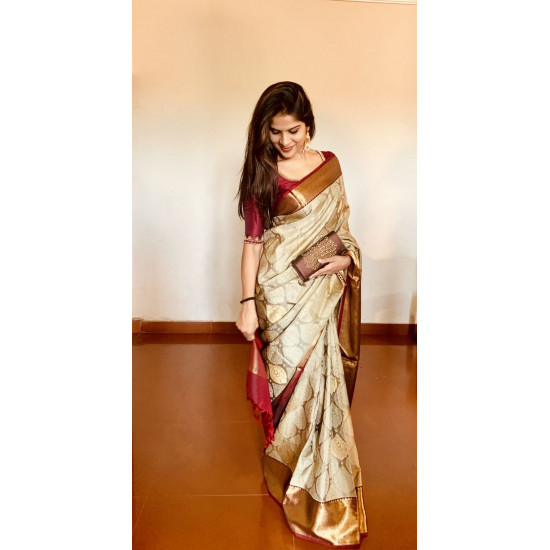 Pretty Cream Color Designer Soft Silk Saree VMRSC4021